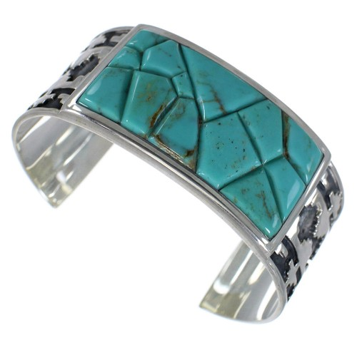 Sterling Silver Turquoise Well-Built Southwest Cuff Bracelet CX49274
