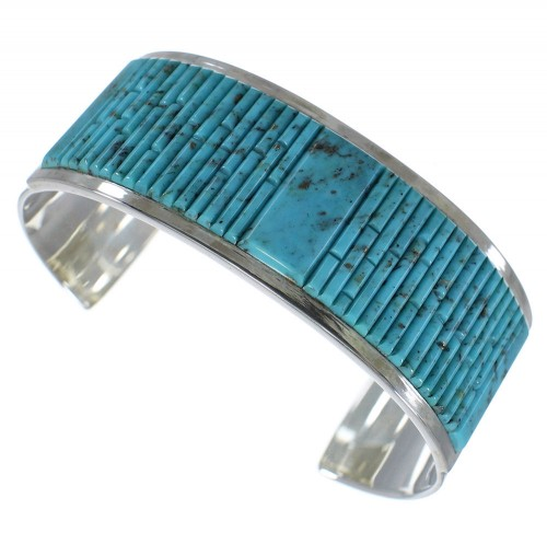 Genuine Sterling Silver Turquoise Southwest Cuff Bracelet CX49437