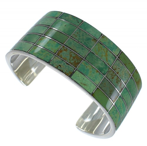 Turquoise Inlay Southwestern Sterling Silver Cuff Bracelet CX49534