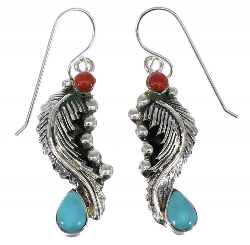 Turquoise Coral Silver Feather Hook Dangle Earrings AX49544
