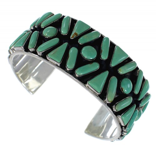 Turquoise Sterling Silver Sturdy Southwest Cuff Bracelet CX49569