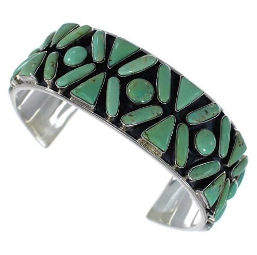 Sterling Silver Turquoise Southwest Sturdy Cuff Bracelet CX49571