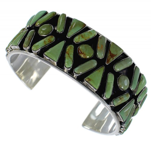 Southwest Turquoise Sterling Silver Heavy Cuff Bracelet CX49576