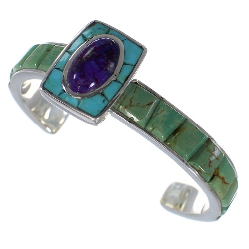 Sterling Silver Southwest Multicolor Turquoise Cuff Bracelet CX49637