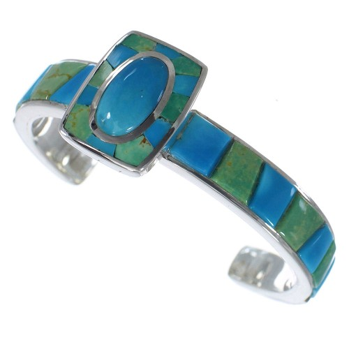 Genuine Sterling Silver Southwest Turquoise Cuff Bracelet CX49642