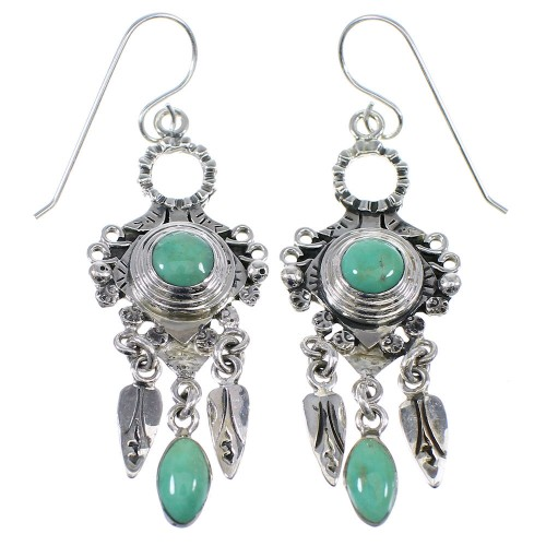 Turquoise And Silver Southwestern Jewelry Hook Dangle Earrings AX49966
