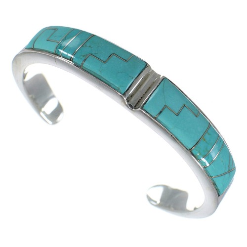 Turquoise Sterling Silver Southwest Heavy Cuff Bracelet CX49756
