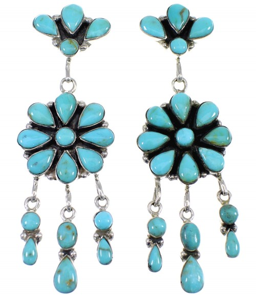 Genuine Sterling Silver And Turquoise Post Dangle Earrings AX50921