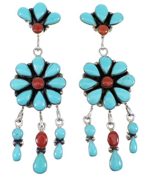 Genuine Sterling Silver Turquoise Coral Post Dangle Earrings AX50930