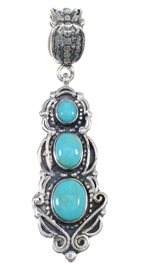 Southwest Silver And Turquoise Pendant AX50225