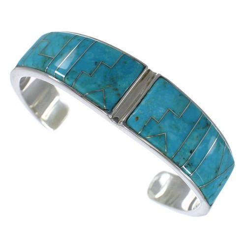Genuine Silver Southwest Turquoise Heavy Cuff Bracelet CX49878