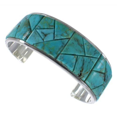 Turquoise Sterling Silver Well-Built Southwest Cuff Bracelet CX49899
