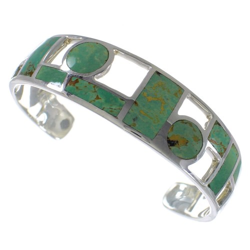 Southwest Sterling Silver Turquoise Inlay Cuff Bracelet CX49906