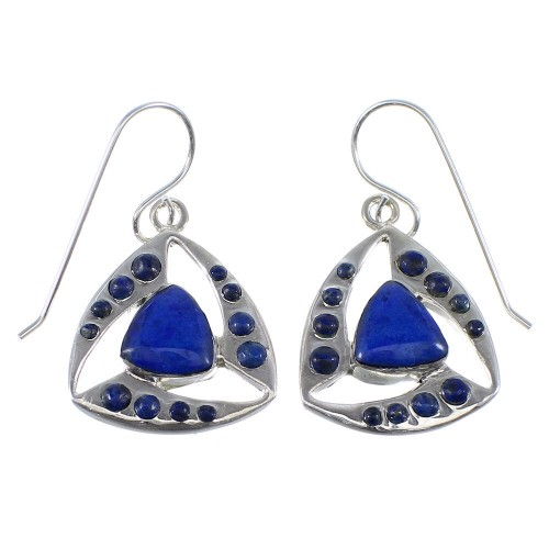 Lapis And Sterling Silver Hook Dangle Earrings AX51107