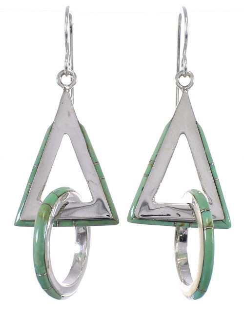 Authentic Sterling Silver Turquoise Hook Dangle Earrings AX50487