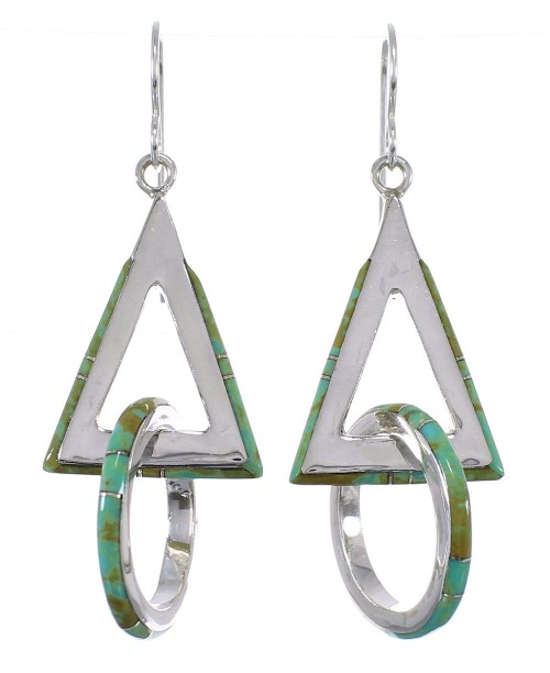 Silver Turquoise Inlay Hook Dangle Earrings AX50662