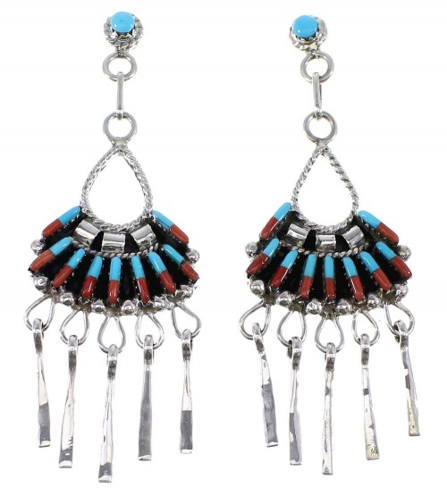 Sterling Silver Turquoise Coral Needlepoint Post Dangle Earrings AX50716