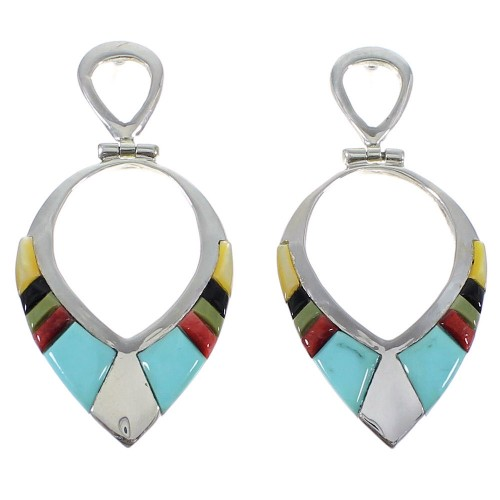 Multicolor And Sterling Silver Post Dangle Earrings AX50346