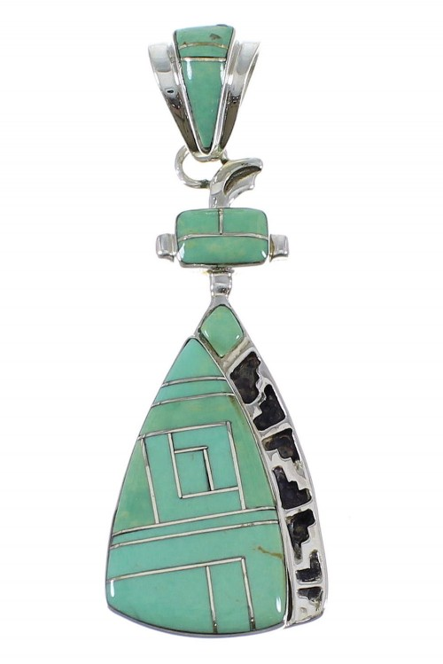 Southwest Turquoise Inlay Authentic Sterling Silver Pendant AX50360