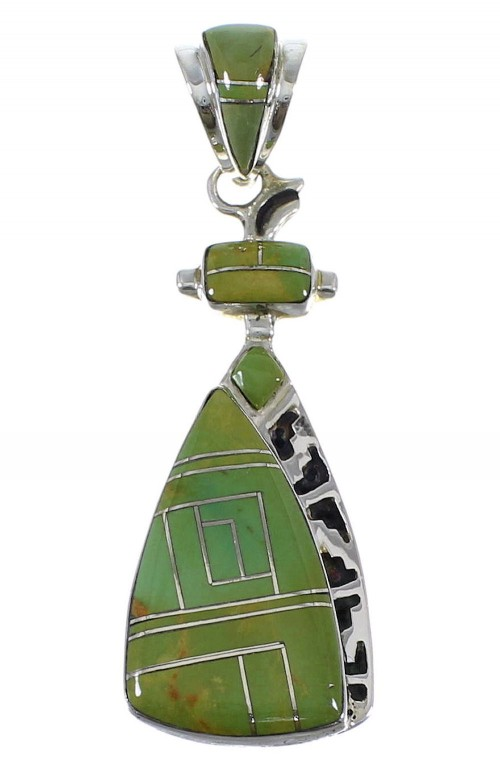 Southwestern Turquoise Inlay Authentic Sterling Silver Pendant AX50362
