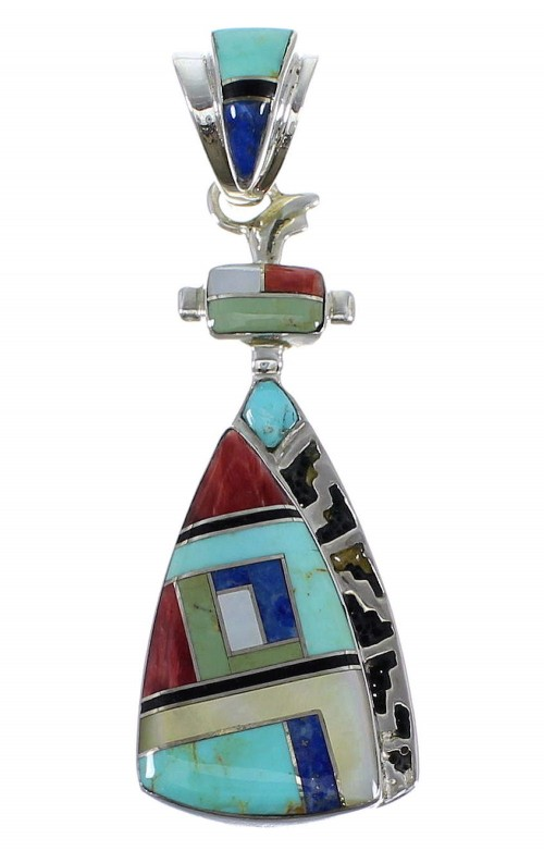 Authentic Sterling Silver Multicolor Inlay Pendant AX50380