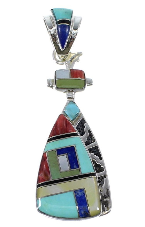 Sterling Silver Multicolor Inlay Pendant AX50381