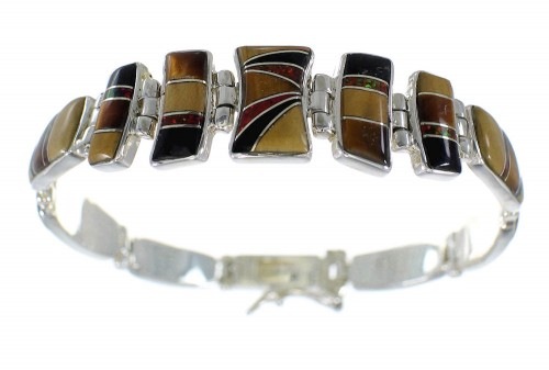 Sterling Silver Multicolor Inlay Southwestern Link Bracelet CX50578