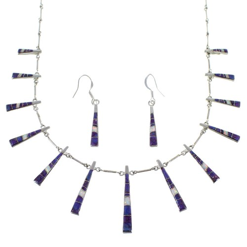 Magenta Turquoise And Opal Sterling Silver Jewelry Set CX51114