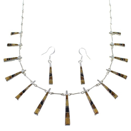 Sterling Silver Southwest Multicolor Inlay Necklace And Earring Set CX51118