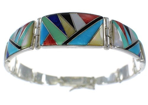 Southwestern Sterling Silver Multicolor Inlay Link Bracelet CX51236