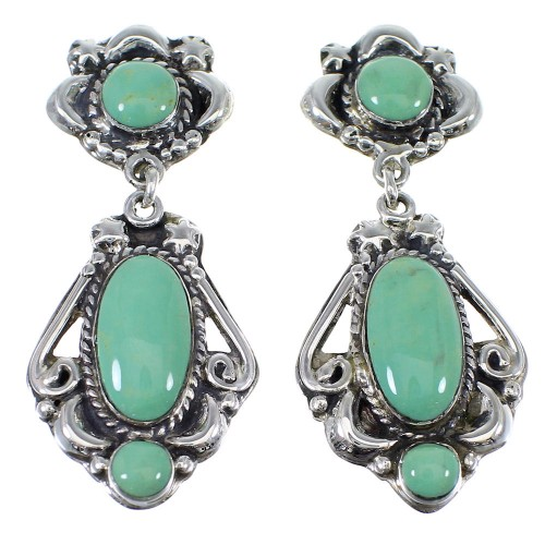 Southwest Turquoise Silver Post Dangle Earrings AX51166
