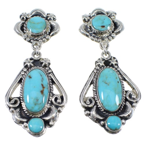 Silver Southwest Turquoise Post Dangle Earrings AX51186