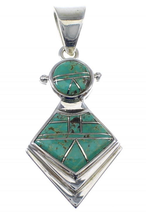 Southwest Silver Turquoise Slide Pendant AX51249