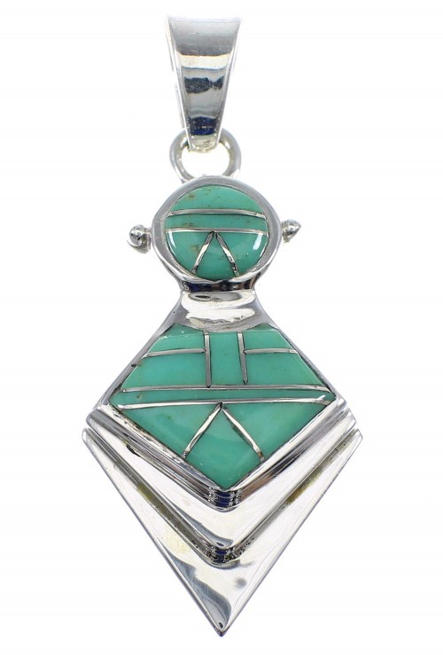Southwestern Authentic Sterling Silver Turquoise Slide Pendant AX51254