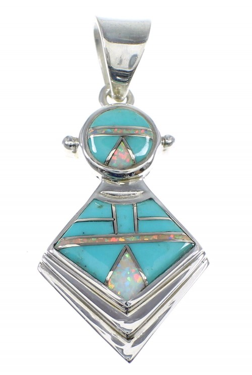 Turquoise And Opal Inlay Sterling Silver Slide Pendant AX51265