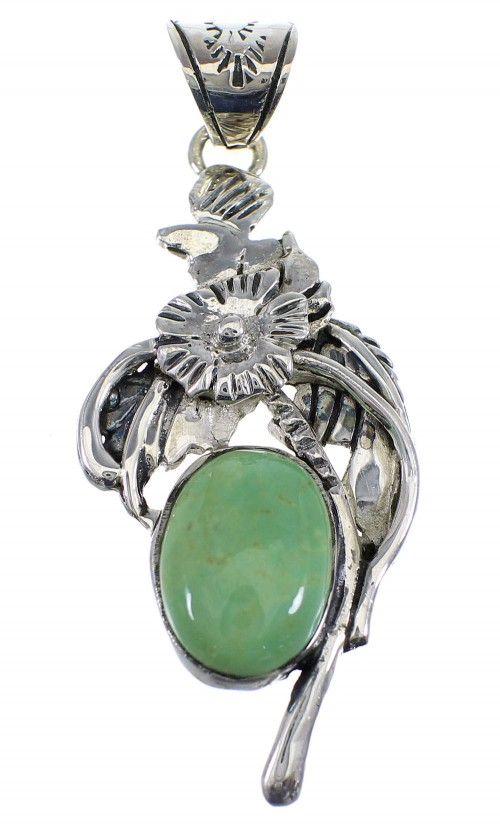 Turquoise And Silver Flower Pendant AX51553