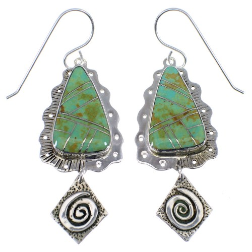 Turquoise Inlay Sterling Silver Hook Dangle Earrings AX51588