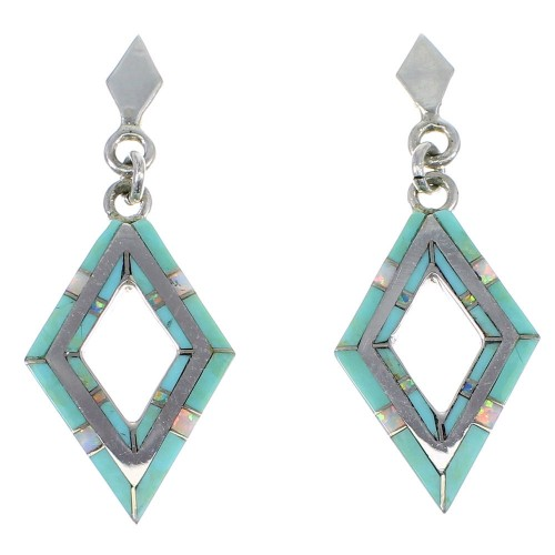 Southwestern Silver Turquoise And Opal Post Dangle Earrings AX51682