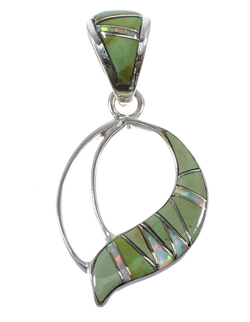 Turquoise And Opal Sterling Silver Pendant AX51870