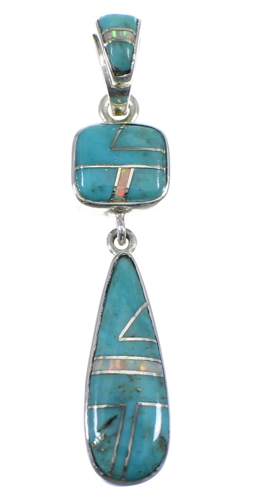 Turquoise And Opal Inlay Sterling Silver Pendant YX51636