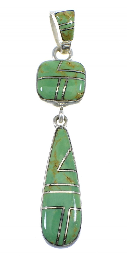 Turquiose Inlay Sterling Silver Pendant YX51670