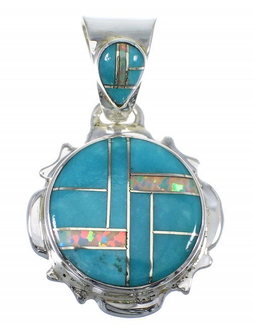 Turquoise And Opal Inlay Sterling Silver Pendant YX51795