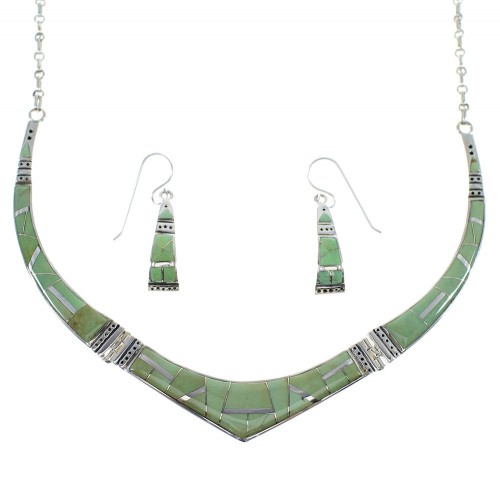 Sterling Silver Southwestern Turquoise Inlay Necklace And Earring Set CX52350