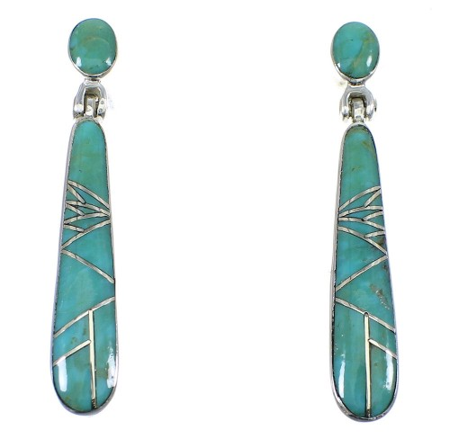 Southwestern Turquoise Sterling Silver Post Dangle Earrings YX53644