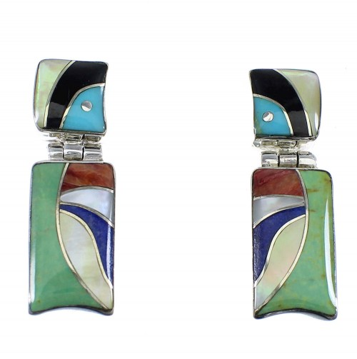 Southwest Multicolor Inlay Sterling Silver Earrings EX54030