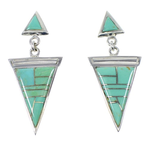 Sterling Silver Turquoise Post Dangle Southwestern Earrings YX52359