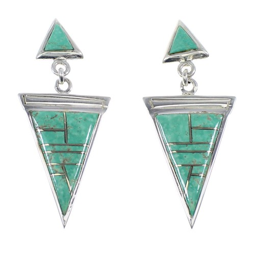 Sterling Silver Turquoise Post Dangle Southwestern Earrings YX52360