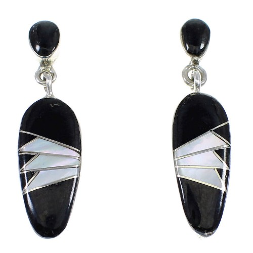 Jet And Mother Of Pearl Sterling Silver Earrings YX53218