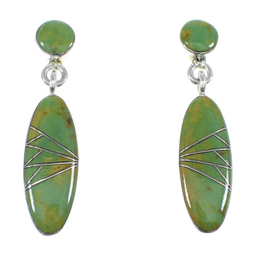 Turquoise Sterling Silver Post Dangle Earrings YX53254