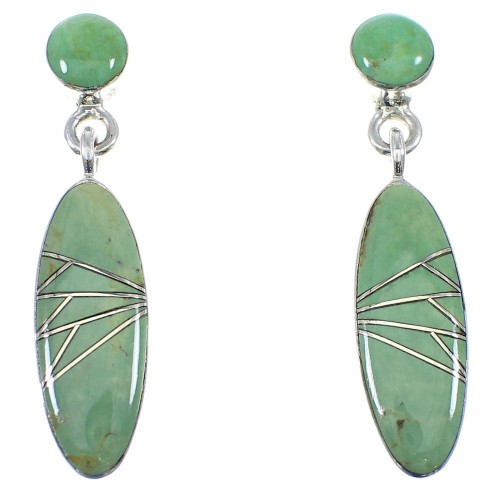 Southwestern Turquoise Silver Post Dangle Earrings YX53257
